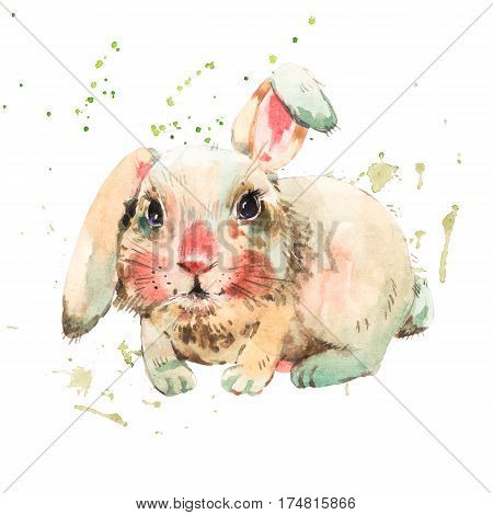 Cute white rabbit with red bow. Animal bunny watercolor illustration. Easter spring hand painted art work isolated on white background