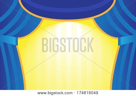 A theater stage with a blue curtain. World Theatre Day illustration.