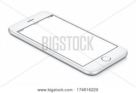 White mobile smartphone mockup counterclockwise rotated lies on the surface with blank screen isolated on white background. You can use this smartphone mock-up for your web project or design presentation.