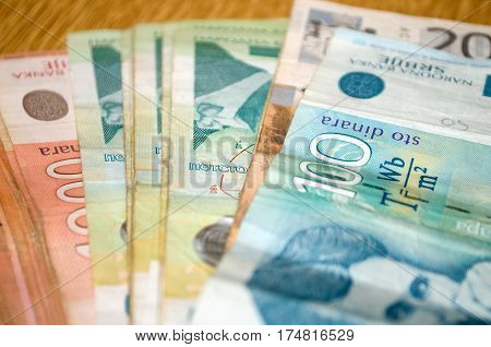 Serbian currency dinar. Banknotes of 500, 200 and 100 dinars