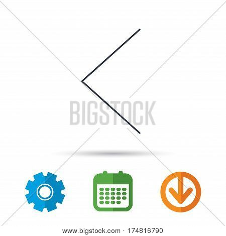Left arrow icon. Previous sign. Back direction symbol. Calendar, cogwheel and download arrow signs. Colored flat web icons. Vector