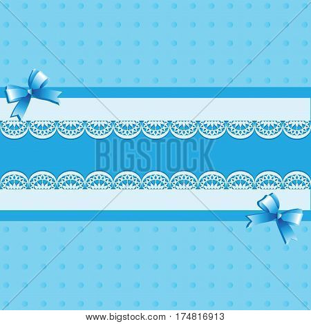 Light blue background. Lace.Vintage background with lace border and satin ribbon with a bow. Invitation card or template shower card baby. Vector Image.