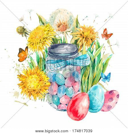 Watercolor cute glass jar with candy, blue bow, butterfly and spring flowers, yellow and white dandelions, colored eggs. Easter spring hand painted illustration isolated on white background