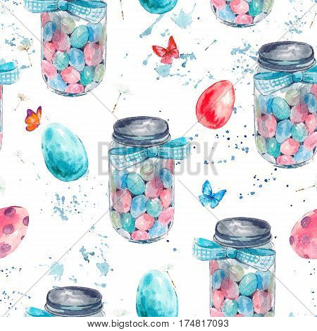 Watercolor seamless pattern with cute glass jar, candy, blue bow, butterfly and colored eggs. Easter spring hand painted illustration isolated on white background