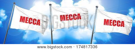 mecca, 3D rendering, triple flags
