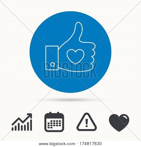 Thumb up like icon. Super cool vote sign. Social media symbol. Calendar, attention sign and growth chart. Button with web icon. Vector