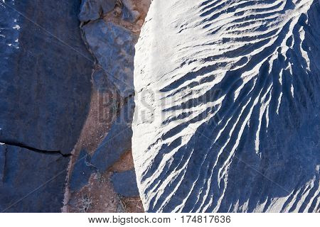 Close up of patterns on rock caused by erosion