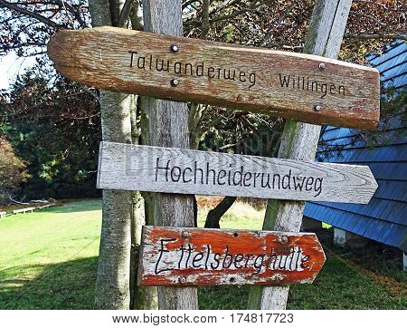 Signposts of hiking trails in the Sauerland region