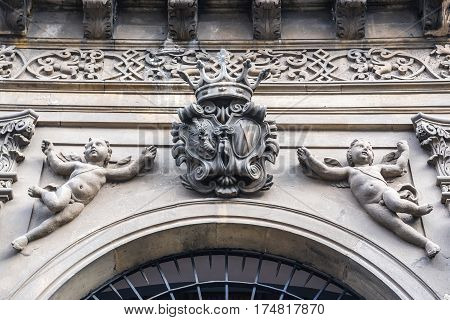 Close up on Manganelli Palace building in Catania Sicily Italy
