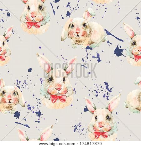 Watercolor seamless pattern with white rabbit, red bow. Animal bunny watercolor illustration. Easter spring hand painted art work on beige background