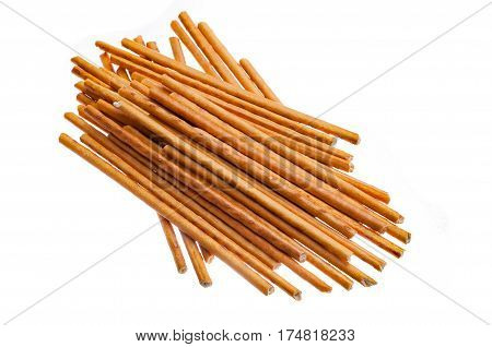 The pretzel sticks isolated on white background
