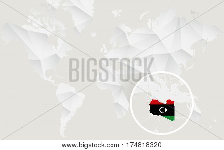 Libya Map With Flag In Contour On White Polygonal World Map.