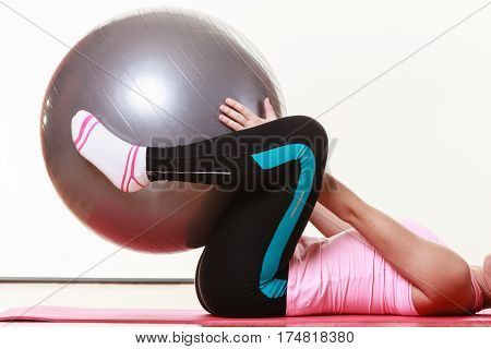 Lady Doing Workout With Fit Ball.