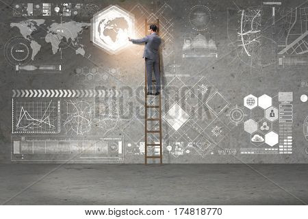 Businessman climbing ladder in global business concept