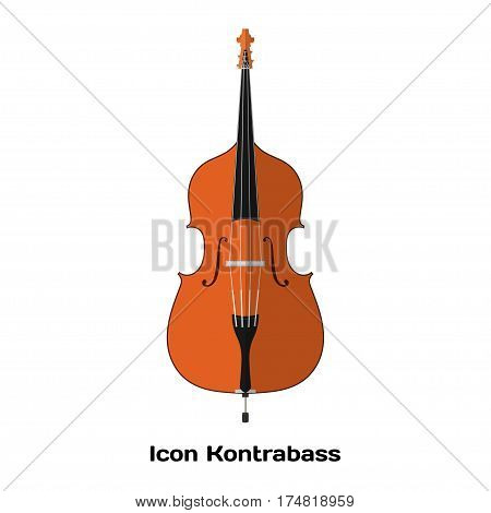 Icon Double bass. Stringed Musical Instruments contrabass on a white background. Flat style. Stock vector illustration