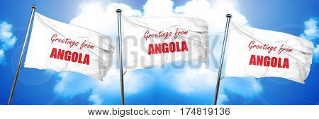 Greetings from angola, 3D rendering, triple flags