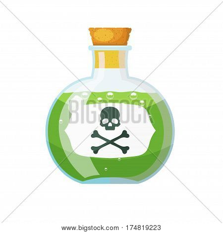 Glass bottle with cork stopper with a green liquid and a sign of skull and bones. The potion in a vial. Cartoon style. Stock vector illustration