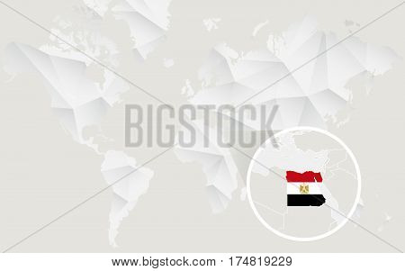 Egypt Map With Flag In Contour On White Polygonal World Map.