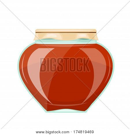 Image of a glass jar with a dark honey and the paper cover. Cartoon style. Stock vector illustration