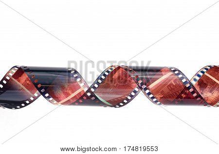 photographic film negative isolated on white background
