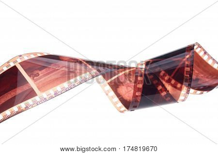 The Film strip roll over white background.