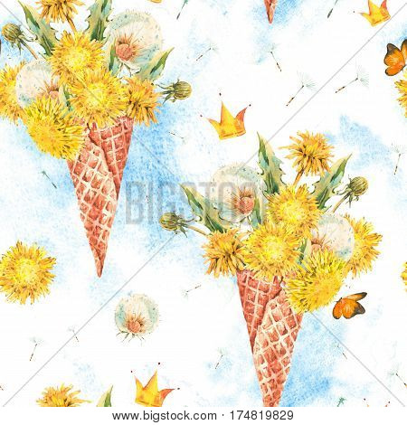 Watercolor natural floral seamless pattern of a dandelion bunch in the waffle cone, vintage illustration on white.