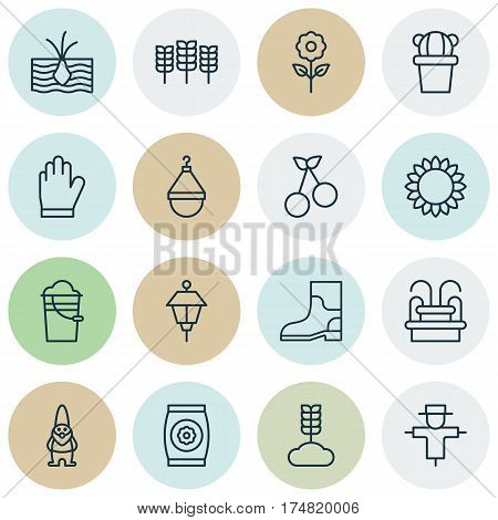Set Of 16 Plant Icons. Includes Helianthus, Hanger, Water Monument And Other Symbols. Beautiful Design Elements.