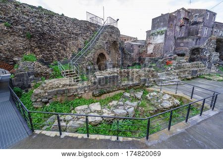 Remains of ancient Odeon theater in Catania Sicily Italy