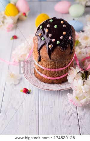 Easter cake with copy space on festive Easter table