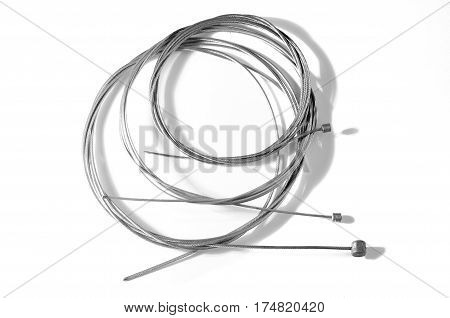 Bicycle brake and transmission wire or steel cable isolated on white