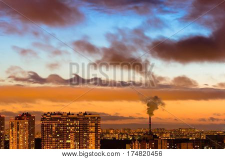 Cities and industrial smoke clouds the sky sunset Kelvin-helmholtz instability Venus planet.