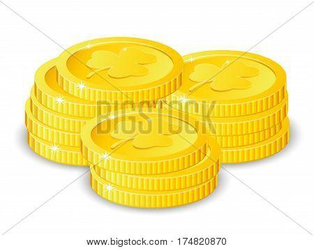 Golden coins with four leaf clover, vector illustration