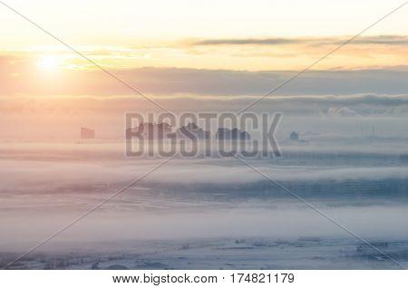 Morning gray city in smog fog and smoke.