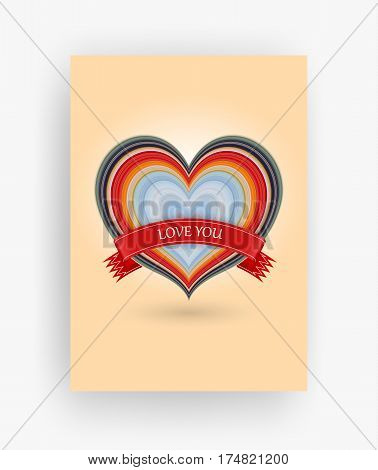 14 february greeting card Happy Valentines Day stretched pixels effect A4 format