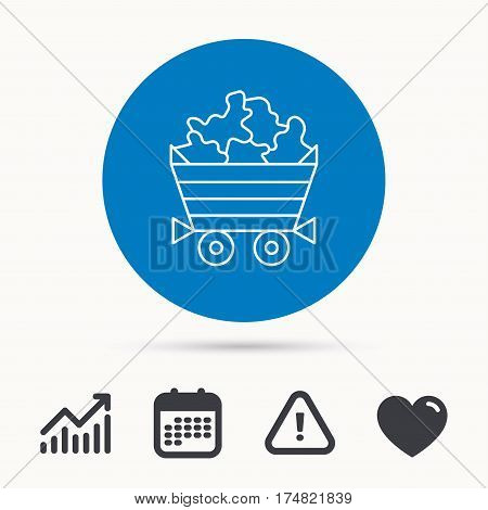 Minerals icon. Wheelbarrow with jewel gemstones sign. Calendar, attention sign and growth chart. Button with web icon. Vector
