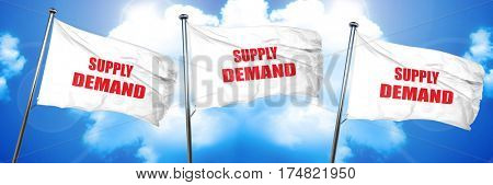 supply and demand, 3D rendering, triple flags