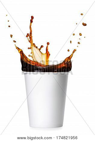 disposable white paper cup with splash of coffee isolated on white background. Coffee splash. Takeaway cup of coffee. Coffee to go