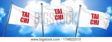 Tai chi, 3D rendering, triple flags
