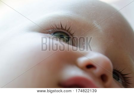 Little baby is crying. Tears in her eyes close-up.