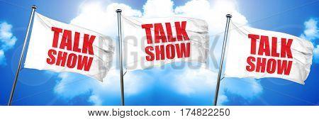 Talk show, 3D rendering, triple flags