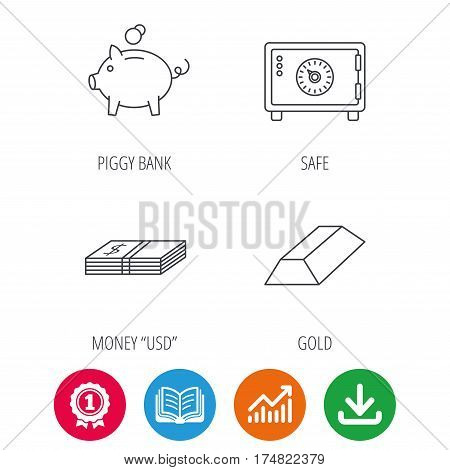 Piggy bank, cash money and safe icons. Gold bar linear sign. Award medal, growth chart and opened book web icons. Download arrow. Vector