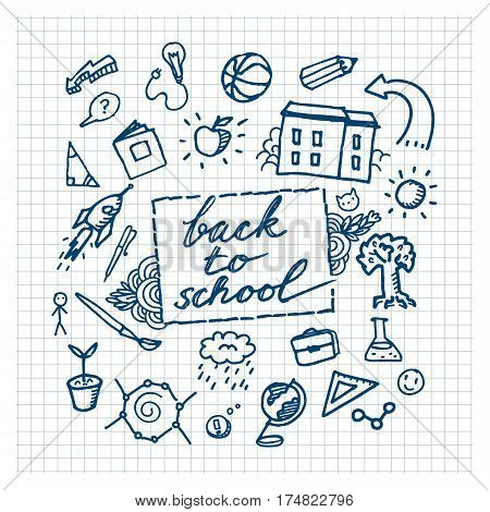 School background with hand drawn school supplies. Back to school.