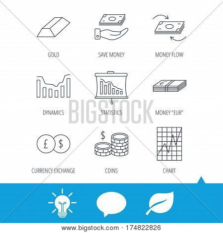 Banking, cash money and statistics icons. Money flow, gold bar and dollar usd linear signs. Dynamics chart, coins and savings icons. Light bulb, speech bubble and leaf web icons. Vector
