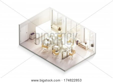 Office interior design mockup inside isometric view 3d rendering. Empty conference room mock up isolated. Realistic business work place with desk and board. Cutaway cubical company department.