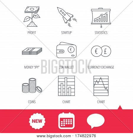Profit investment, cash money and startup rocket icons. Wallet, currency exchange and euro linear signs. Chart, coins and statistics icons. New tag, speech bubble and calendar web icons. Vector