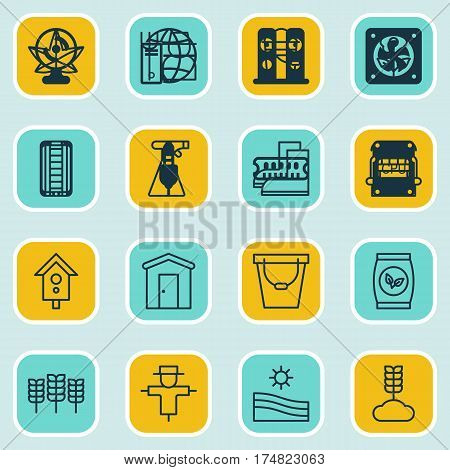 Set Of 16 Garden Icons. Includes Sprinkler, Wheat, Grower And Other Symbols. Beautiful Design Elements.