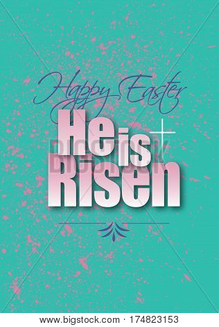 Graphic composition of Happy Easter Holiday message against pastel background and pink grunge pattern. Art is suitable for greeting card design and general holiday layouts.