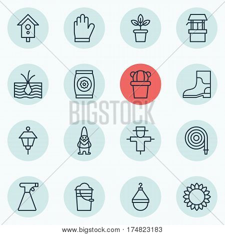 Set Of 16 Holticulture Icons. Includes Fertilizer, Rubber Boot, Desert Plant And Other Symbols. Beautiful Design Elements.