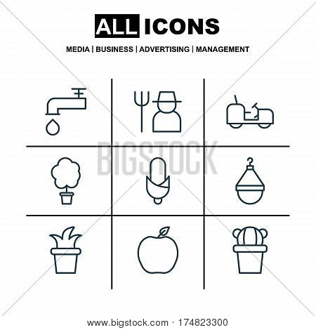 Set Of 9 Planting Icons. Includes Hanger, Desert Plant, Wood Pot And Other Symbols. Beautiful Design Elements.