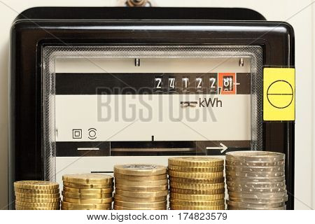 electricity counter with money is showing energy